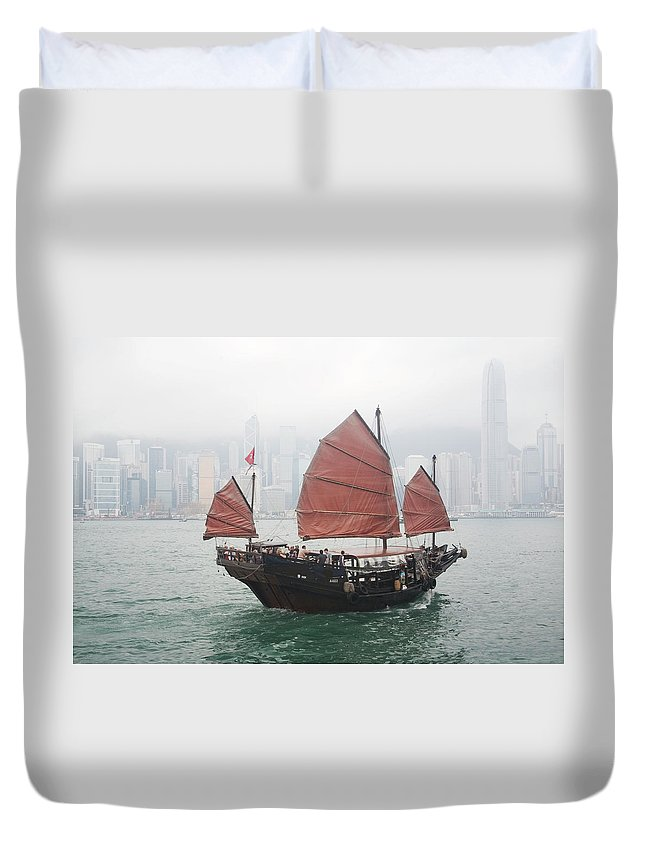 Outdoors Duvet Cover featuring the photograph Tourist Junk On Cruise by Romana Chapman