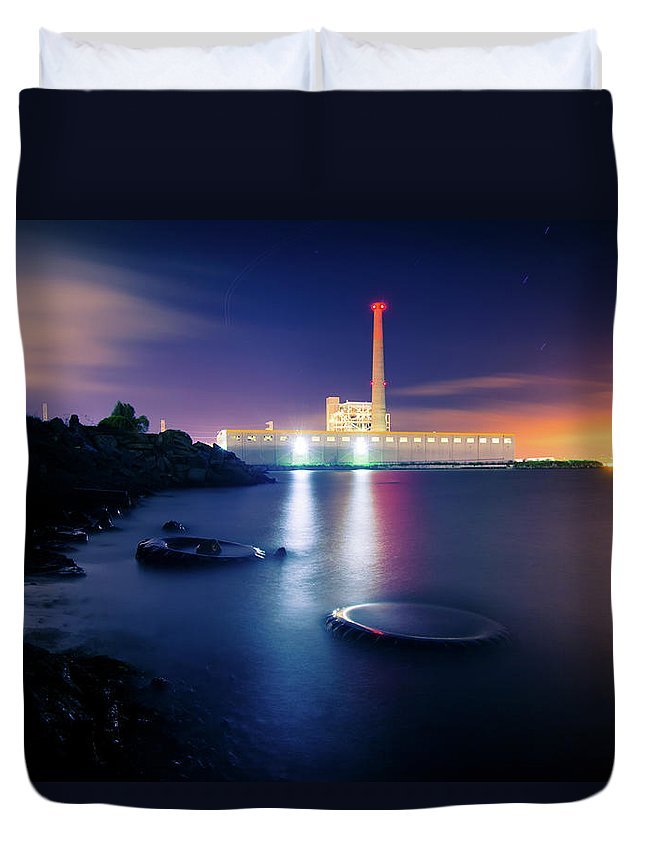 Industrial District Duvet Cover featuring the photograph Toxic Beach With Power Plant by Hal Bergman