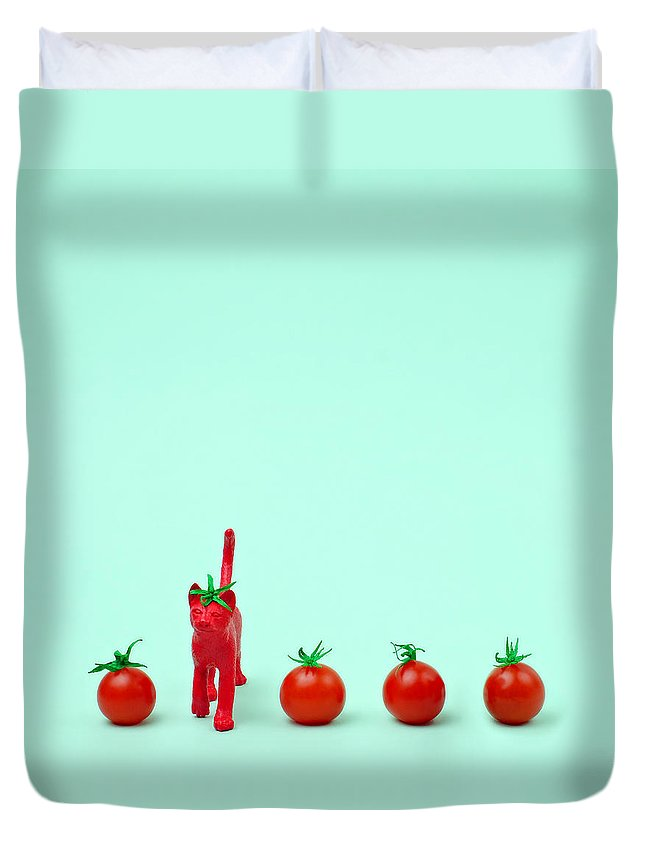 Kitten Duvet Cover featuring the photograph Toy Cat Painted Like A Tomato In Row by Juj Winn