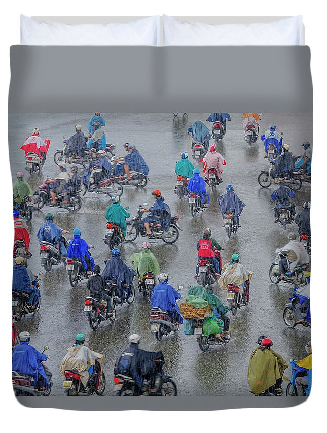 Ho Chi Minh City Duvet Cover featuring the photograph Traffic In Ho Chi Minh City by Rwp Uk