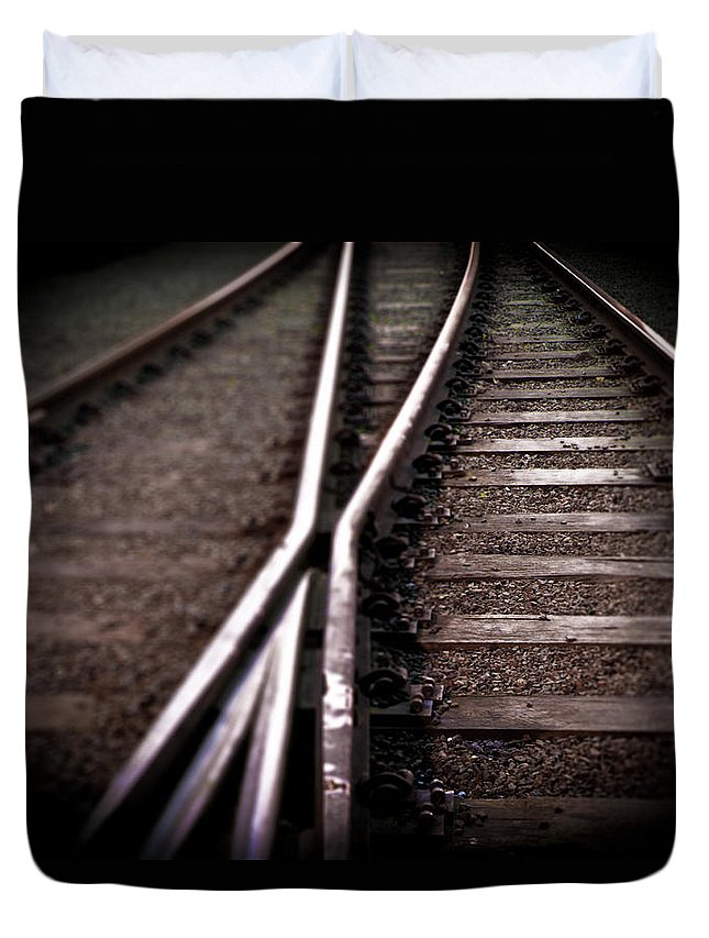 Freight Transportation Duvet Cover featuring the photograph Train Line Crossing by Mikulas1