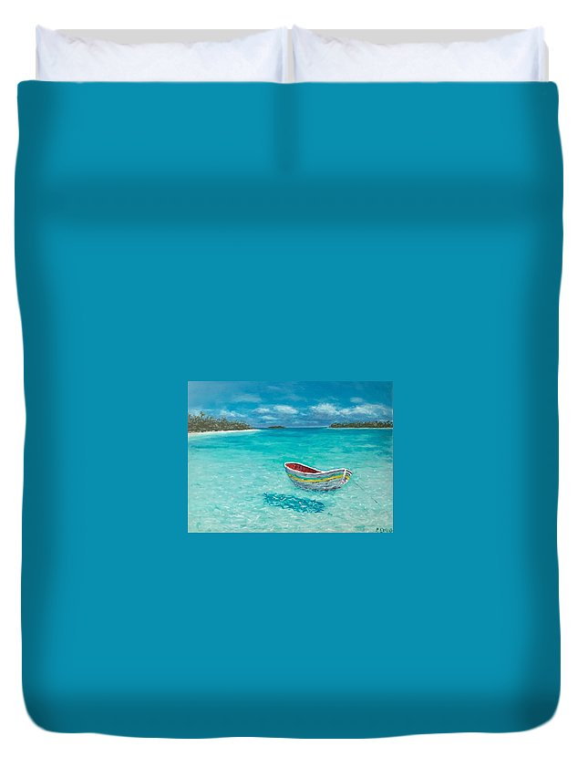 Dinghy Duvet Cover featuring the painting Tranquil by Paul Emig