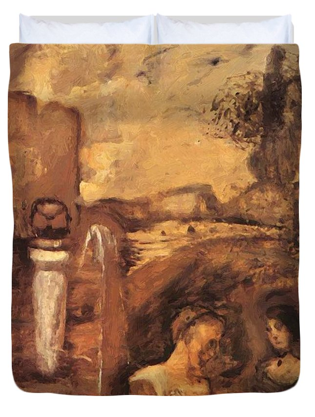 Transcience Duvet Cover featuring the painting Transcience 1912 by Gulacsy Lajos