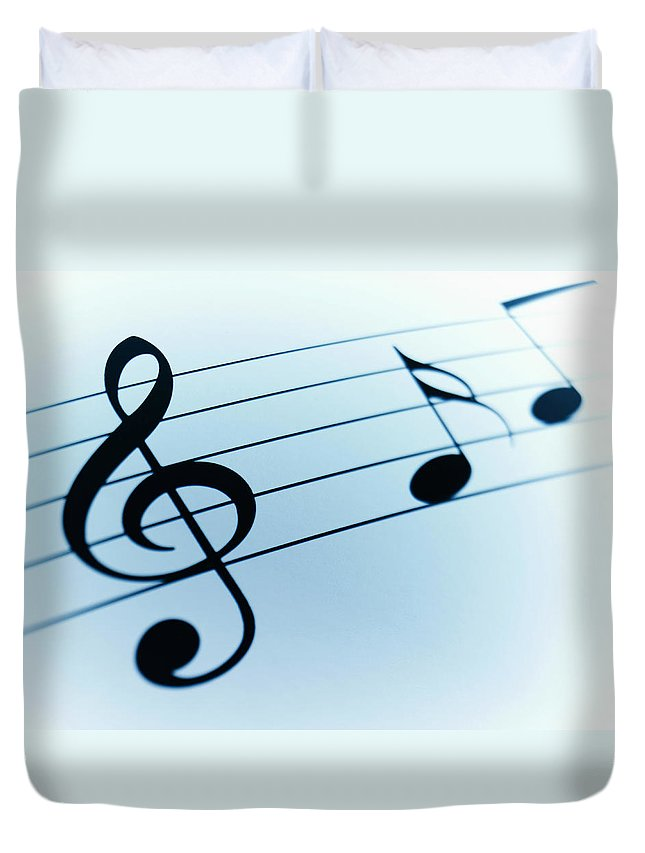 Sheet Music Duvet Cover featuring the photograph Treble Clef And Notes by Adam Gault