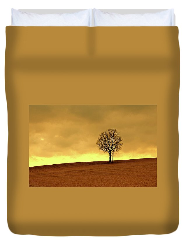 Scenics Duvet Cover featuring the photograph Tree On Hillside At Dusk Sepia by Driftless Studio