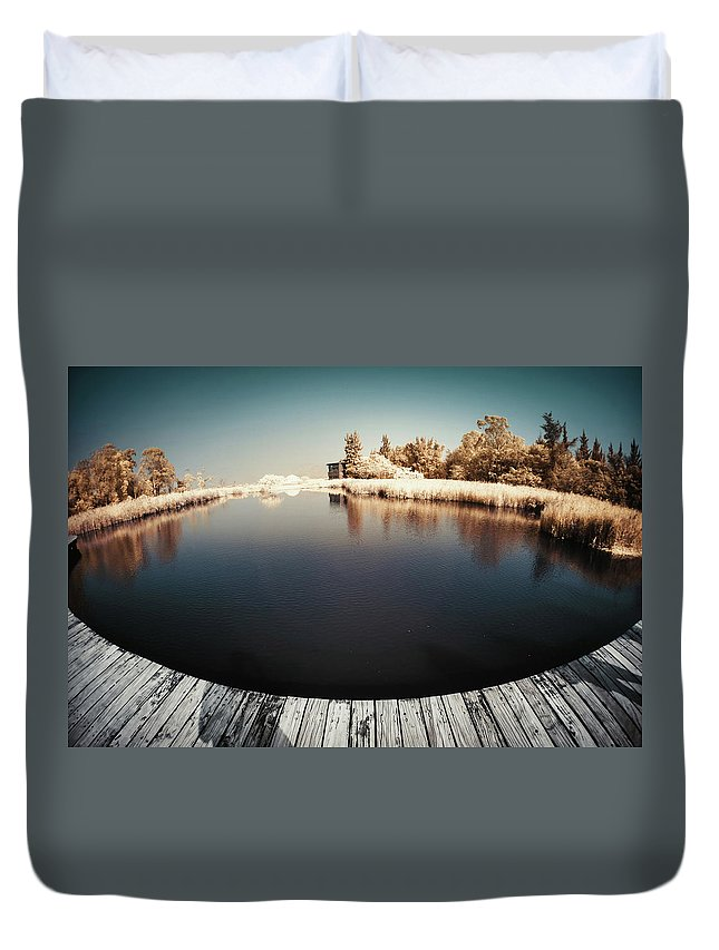Tranquility Duvet Cover featuring the photograph Trees And Plants In A Pond by D3sign