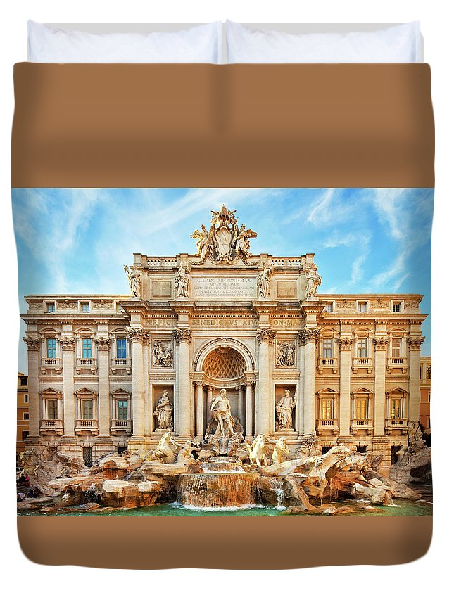 Empty Duvet Cover featuring the photograph Trevi Fountain, Rome by Nikada