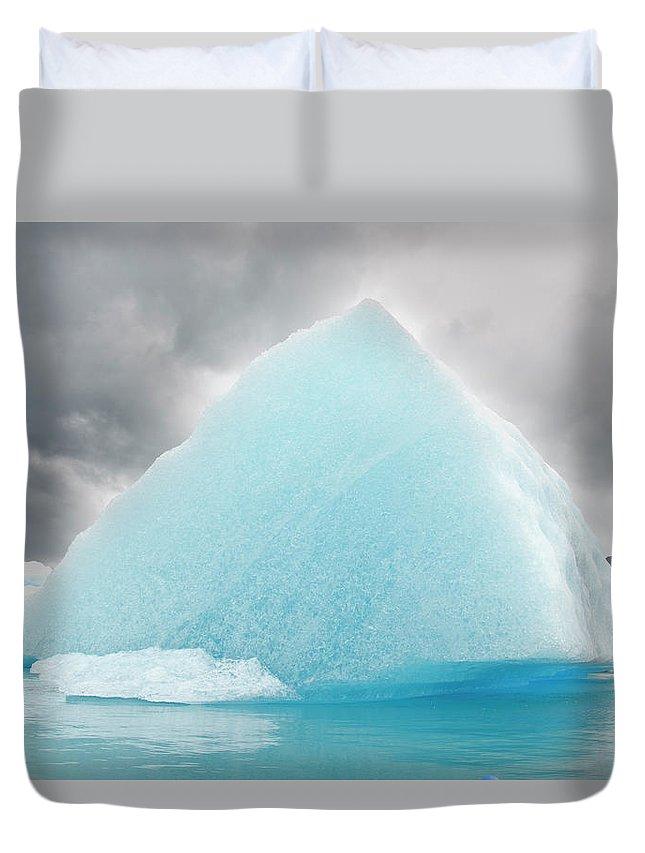 Iceberg Duvet Cover featuring the photograph Triangular Iceberg On Gloomy Day, Bear by James + Courtney Forte