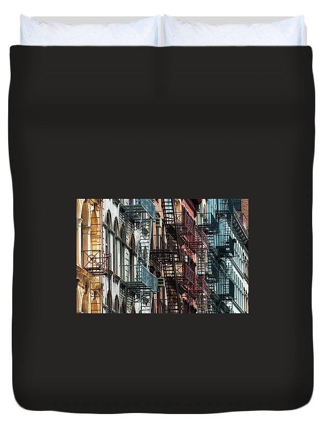 Downtown District Duvet Cover featuring the photograph Tribeca Fire Escapes by Joseph O. Holmes / Portfolio.streetnine.com
