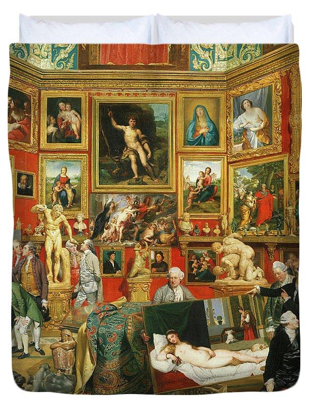 Johan Zoffany Duvet Cover featuring the painting Tribuna Of The Uffizi, 1777 by Johan Zoffany