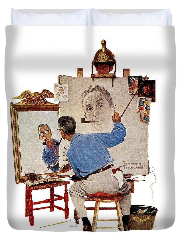 Artists Duvet Cover featuring the drawing Triple Self-portrait by Norman Rockwell