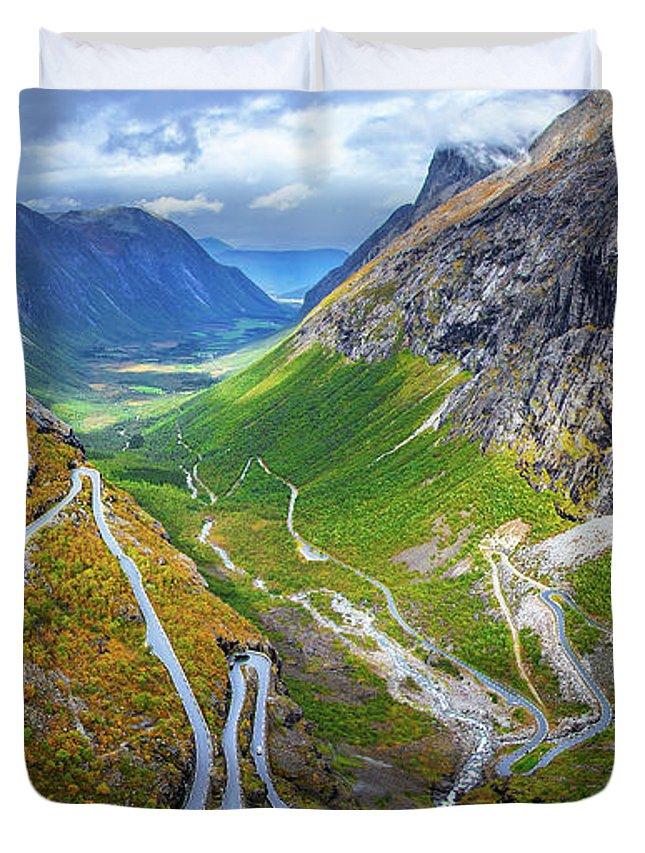 Landscape Duvet Cover featuring the photograph Trollstigen by Judy Hess