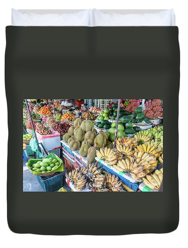 Mango Fruit Duvet Cover featuring the photograph Tropical Fruit At A Street Market In by Tbradford