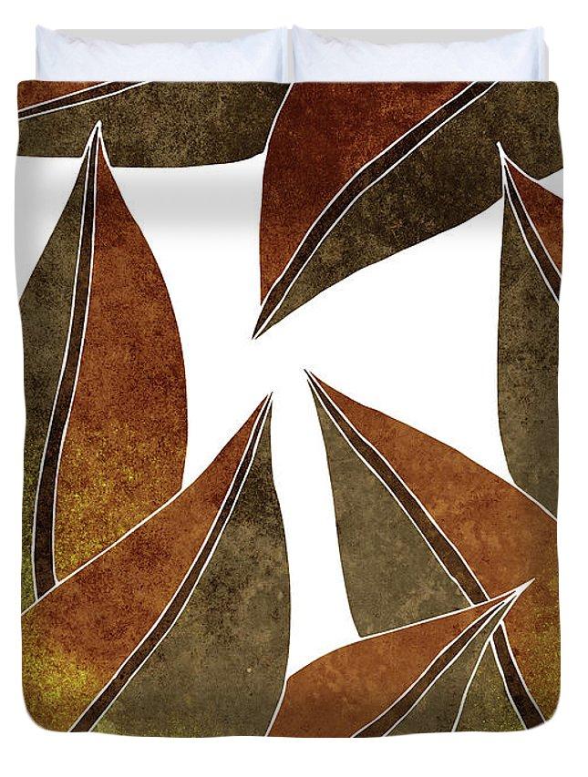 Leaf Duvet Cover featuring the mixed media Tropical Leaf Illustration - Yellow, Brown - Botanical Art - Floral Design - Modern, Minimal Decor by Studio Grafiikka