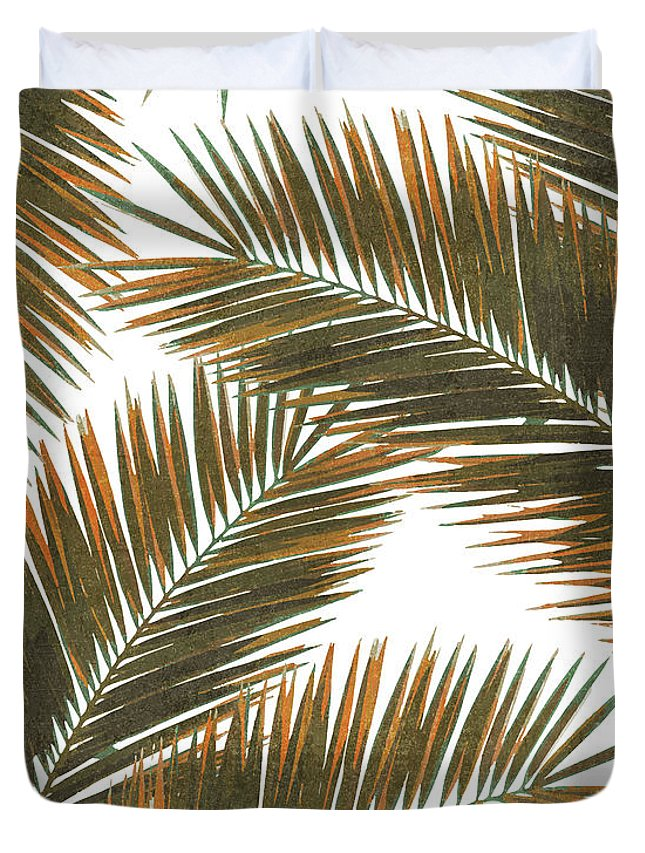 Tropical Palm Leaf Duvet Cover featuring the mixed media Tropical Palm Leaf Pattern 6 - Tropical Wall Art - Summer Vibes - Modern, Minimal - Brown, Copper by Studio Grafiikka
