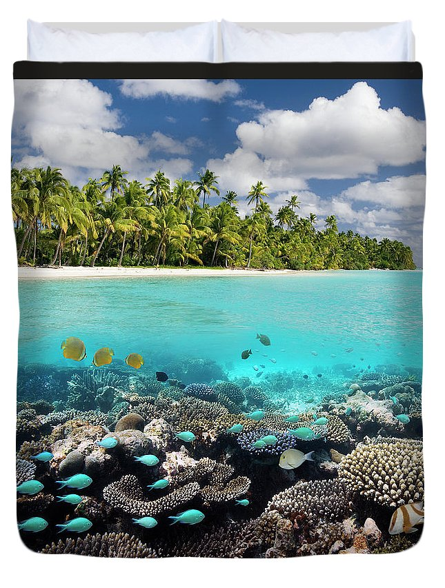 Underwater Duvet Cover featuring the photograph Tropical Paradise - The Maldives by Steve Allen