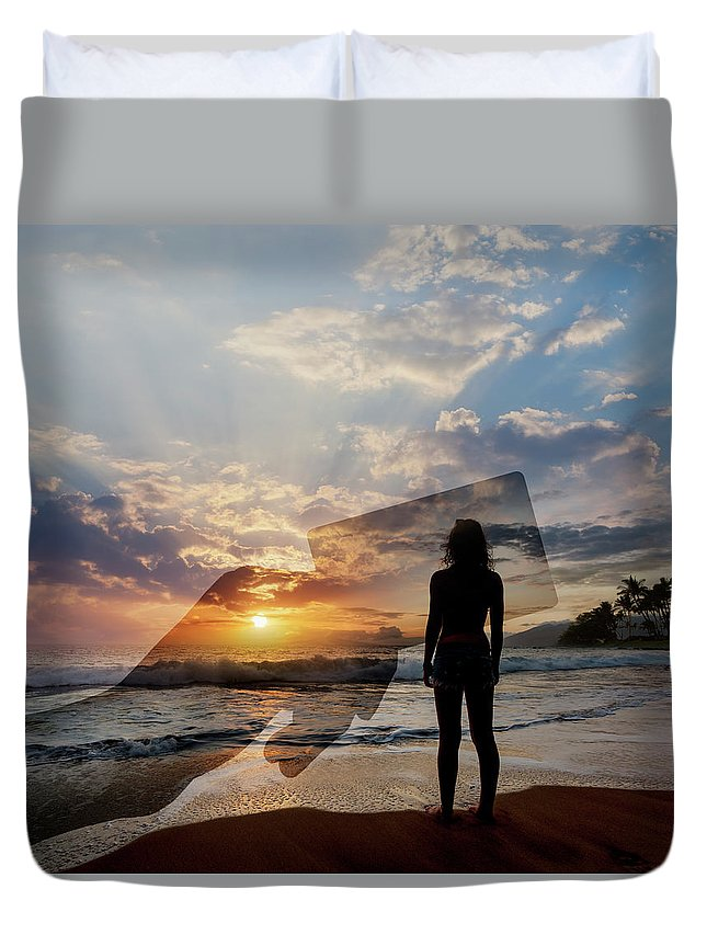 Tranquility Duvet Cover featuring the photograph Tropical Vacation Solitude by John Lund