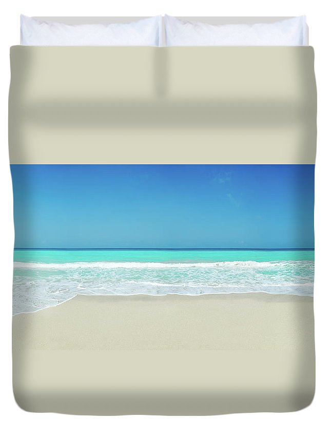 Water's Edge Duvet Cover featuring the photograph Tropical White Sand Beach by Apomares