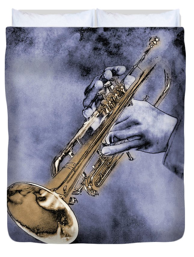 One Man Only Duvet Cover featuring the digital art Trumpet Player by Nick White