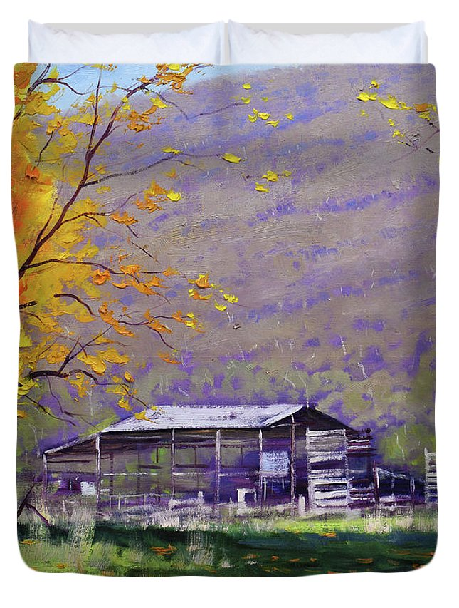 Fall Duvet Cover featuring the painting Tumut Valley Farm Shed by Graham Gercken
