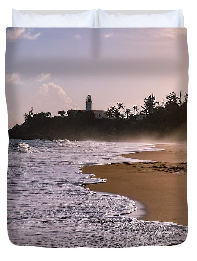 Ocean Duvet Cover featuring the photograph Tuna Punta Lighthouse And Beach In Puerto Rico by G Matthew Laughton