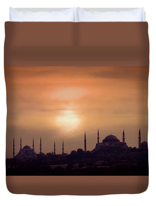 Scenics Duvet Cover featuring the photograph Turkey, Istanbul, Blue Mosque And Hagia by Daryl Benson