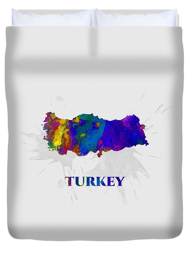 Turkey Duvet Cover featuring the mixed media Turkey, Map, Artist Singh by Artist Singh MAPS