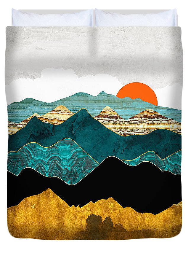Digital Duvet Cover featuring the digital art Turquoise Vista by Spacefrog Designs