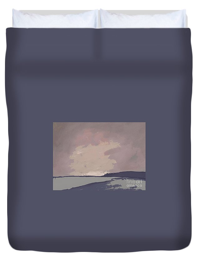 Twilight  Duvet Cover featuring the painting Twilight - Abstract Landscape By Vesna Antic by Vesna Antic