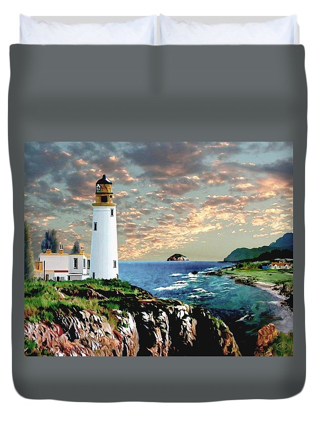 Love Turnberry Golf Course Scotland Country Club Light House Lighthouse Sea Ocean Sunset Landscape Island Seascape Landscape Links Mountains Twilight Cliff Beacon Fairways Clouds Great Britain Bluff Beauty Masters 12th Hole Scape Rkc Ron Ronald K Chambers Spieth Watson Mickelson Woods Singh Faldo Crenshaw Langer The Of To And A In Is It You He Was For On Are As I His Be One Or Had By We Can All Up An She Do If So Her With That They Have But Were Then Word Make Like Our  Duvet Cover featuring the digital art Twilight at Turnberry by Ronald K Chambers