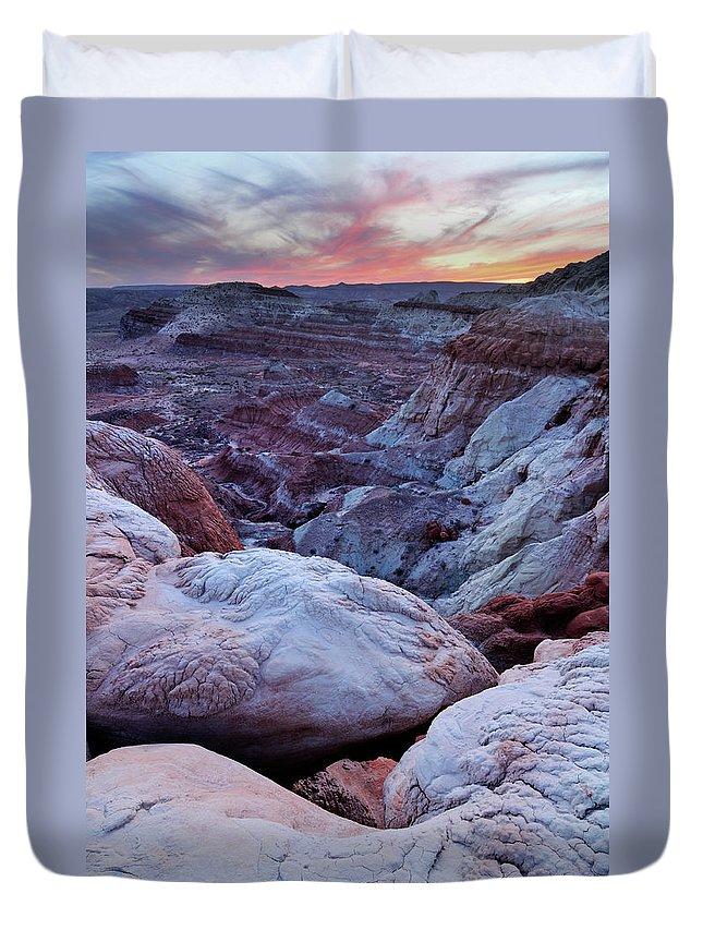 Scenics Duvet Cover featuring the photograph Twilight Landscape At Paria Rimrocks by Rezus