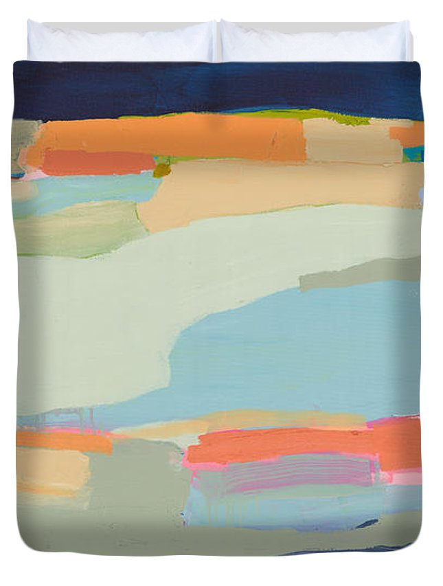 Abstract Duvet Cover featuring the painting Two Beige Dogs by Claire Desjardins