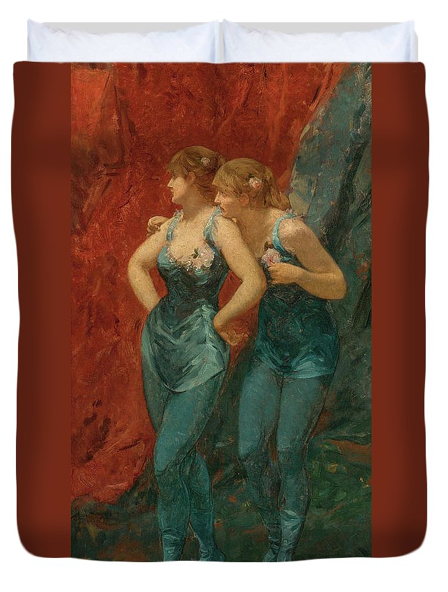 Charles Hermans Duvet Cover featuring the painting Two Dancers, 19th Century by Charles Hermans
