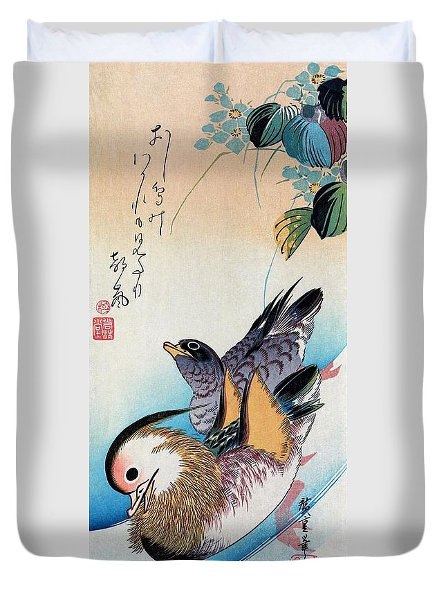 Utagawa Hiroshige Duvet Cover featuring the painting Two Mandarin Ducks by Utagawa Hiroshige