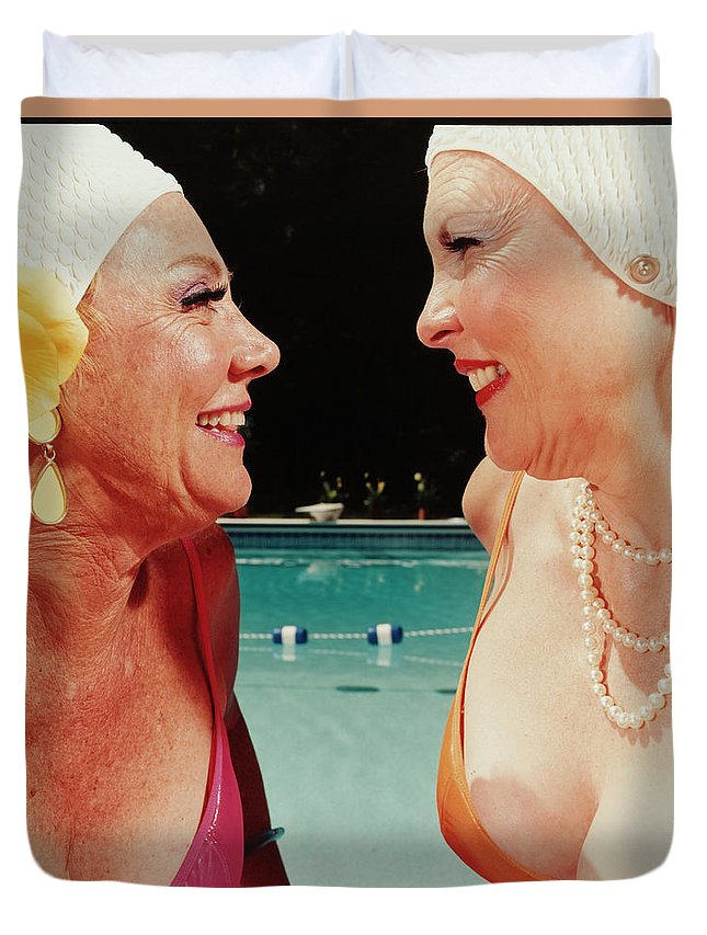 Mature Adult Duvet Cover featuring the photograph Two Women By Pool by Silvia Otte