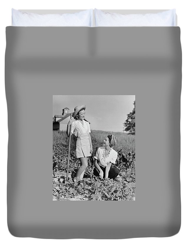 People Duvet Cover featuring the photograph Two Women Gardening In Field by George Marks