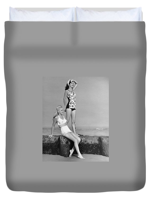 People Duvet Cover featuring the photograph Two Women In Bathing Suits by George Marks