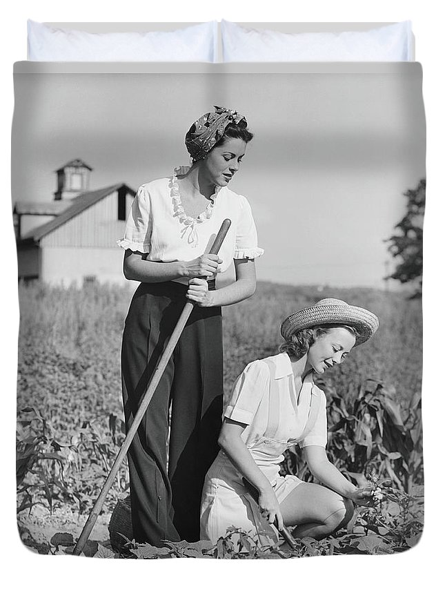 Straw Hat Duvet Cover featuring the photograph Two Women Working On Field, B&w by George Marks