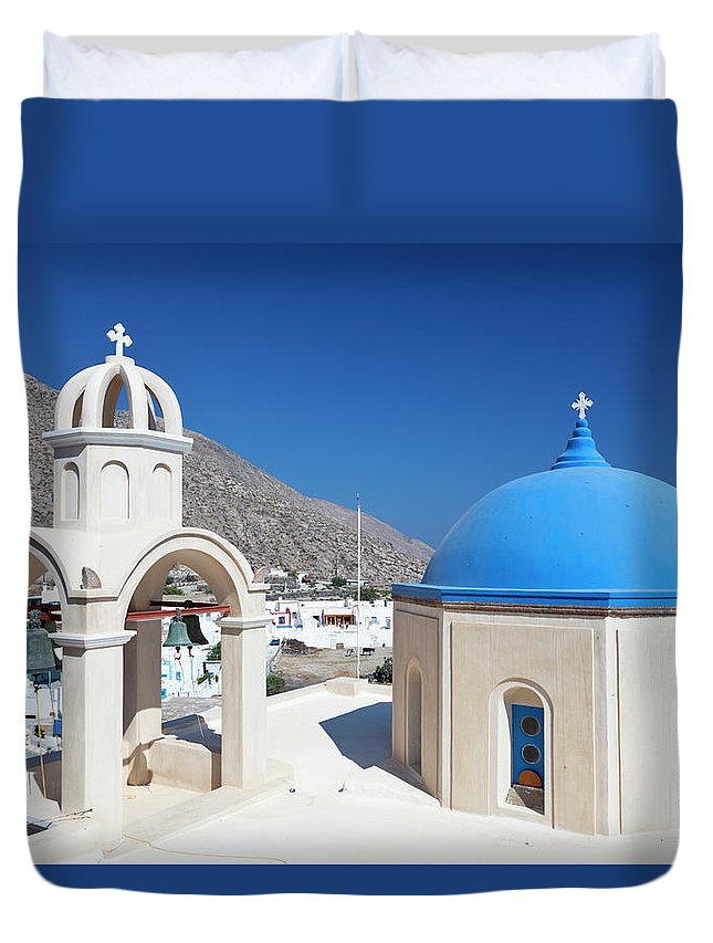 Greek Culture Duvet Cover featuring the photograph Typical Greek Church by Michaelutech