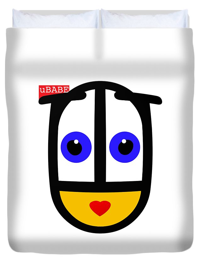Ubabe Face Duvet Cover featuring the digital art uBABE Logo by Ubabe Style