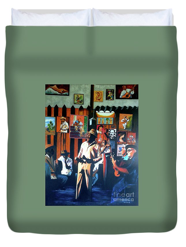 Bar Duvet Cover featuring the painting Uncle Bar by Jose Manuel Abraham