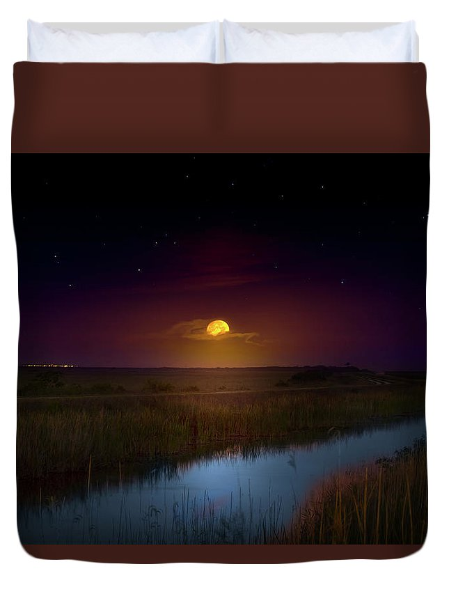 Moon Duvet Cover featuring the photograph Under A Sawgrass Moon by Mark Andrew Thomas