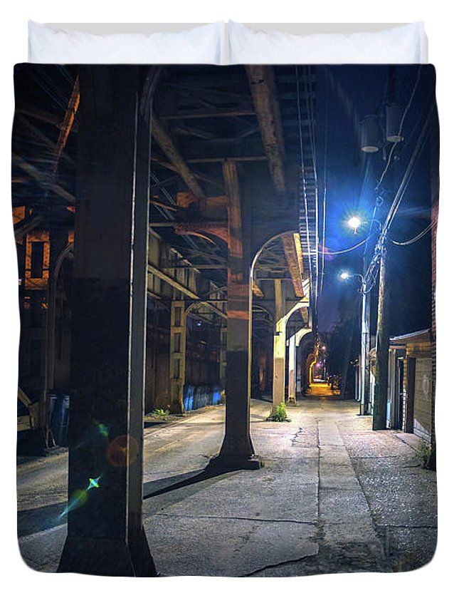Alley Duvet Cover featuring the photograph Under The L by Bruno Passigatti