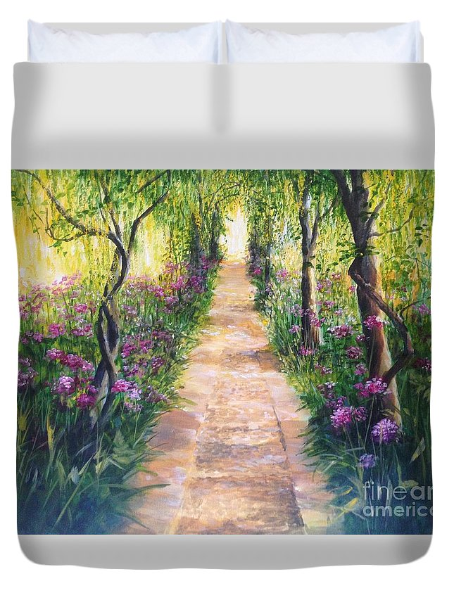 Laburnums Duvet Cover featuring the painting Under the Laburnums Barnsley House England by Lizzy Forrester