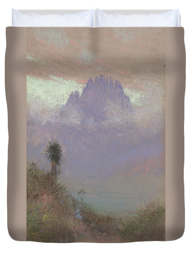 Mountainous Duvet Cover featuring the painting Untitled Mountain Landscape, 1920, Pastel by Charles Franklin Reaugh