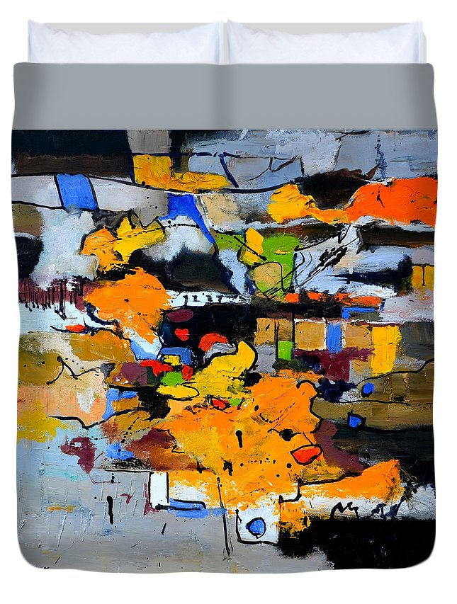 Abstract Duvet Cover featuring the painting Urban Trains by Pol Ledent