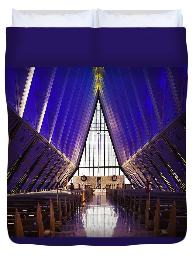 Large Group Of Objects Duvet Cover featuring the photograph U.s. Air Force Academy, Cadets Chapel by Walter Bibikow