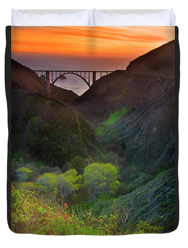 Tranquility Duvet Cover featuring the photograph Usa, California, Big Sur, Bixby Bridge by Don Smith