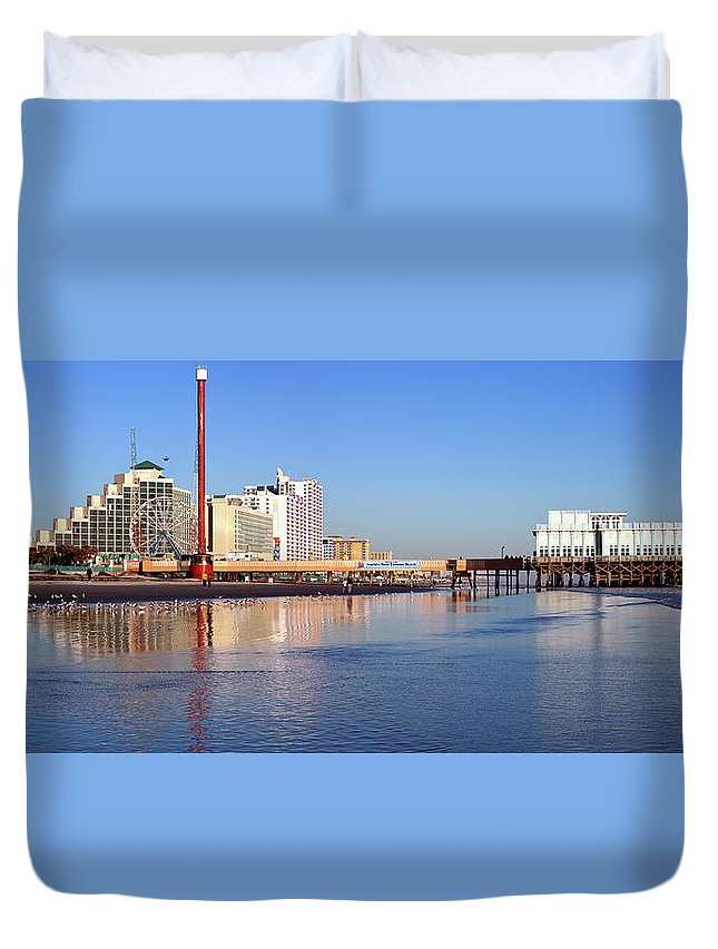 Tranquility Duvet Cover featuring the photograph Usa, Florida, Daytona Beach, Pier And by Henryk Sadura