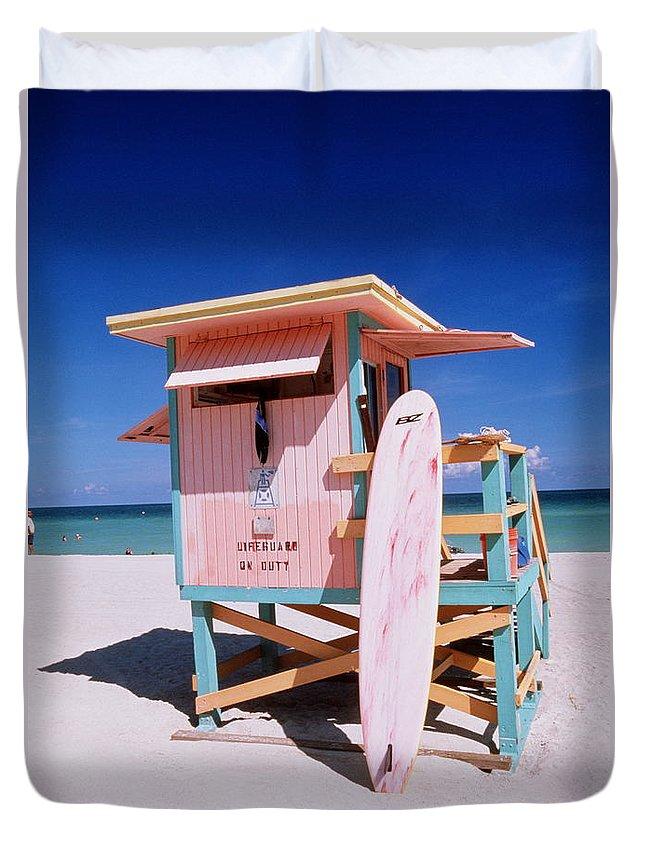 City Duvet Cover featuring the photograph Usa Florida Miami Beach Lifeguard by Buena Vista Images